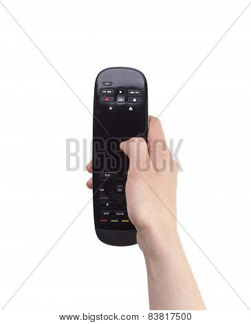 Female Hand Holding A Remote Controller