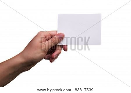 Female Hand Holding A Blank Note