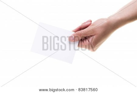 Female Hand Holding White Note Card On White Background