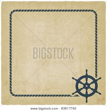 marine background with steering wheel
