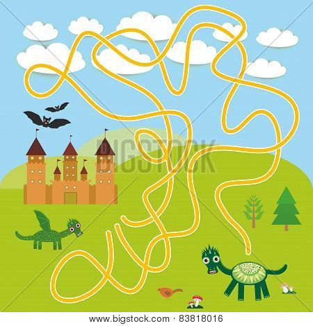 labyrinth game With Castle, fairytale landscape with dragons and bats for Preschool Children. vector