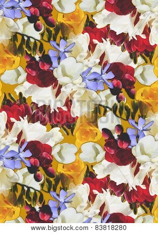 Yellow background with different color flowers freesia