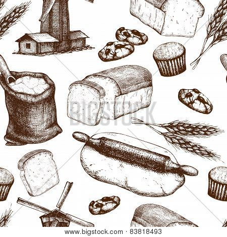 Vintage bakery sketch background.