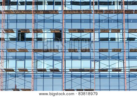 Glass Facade Of Skyscraper Under Construction