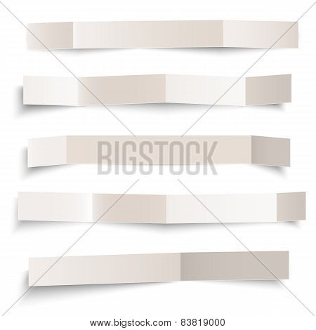 Set Of White Blank Paper Vector Folded Banners Isolated On White, Vector Illustration