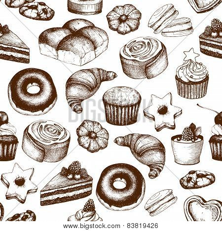 Vector seamless pattern with ink hand drawn breads