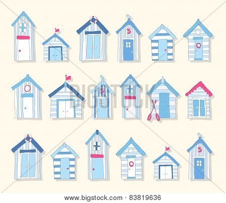 Hand Drawn Blue and Pink Beach Huts on a Light Background