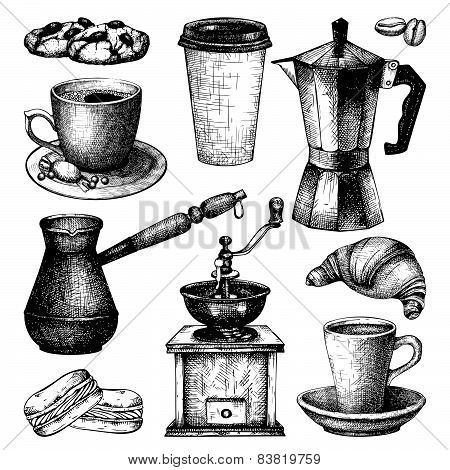 Vintage coffee and pastry illustration