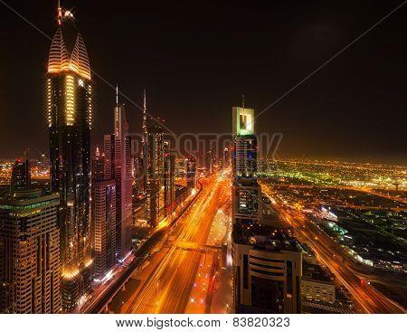 Sheikh Zayed Road By Night, Dubai