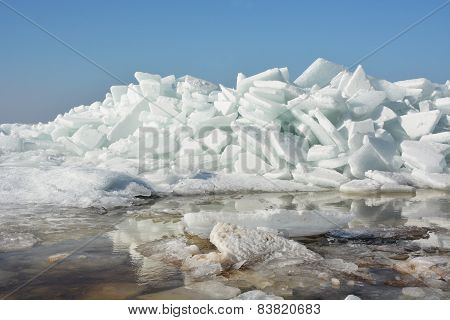 Hummock On The Frozen Sea Shore At The Spring Season