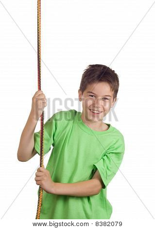 Boy Pulling A Rope