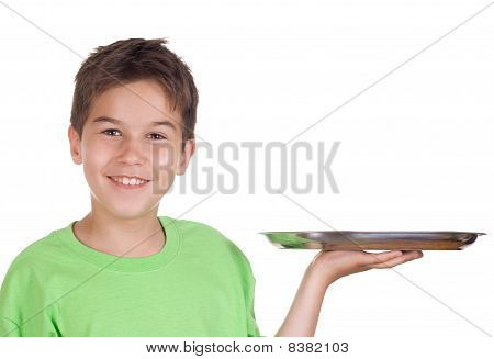 Happy Boy With Empty Tray
