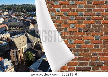 brick cuff on the beautiful panorama of Lvov city