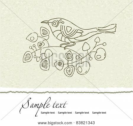 Summer Floral Vector Vintage Card With A Branch Of Blossoming  Apple And A Bird.