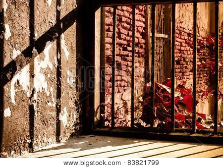 Old Jail window viewed from the inside. Concept