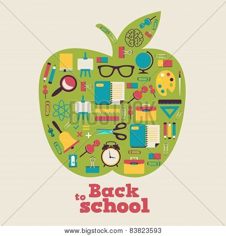 Back to school - background with apple and icons