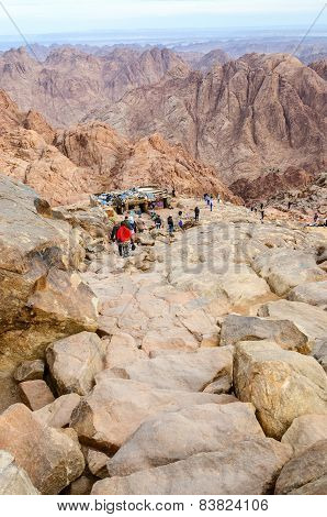 Sightseers Go Down The Long Trail From The Top Of Mount Moses, Egypt