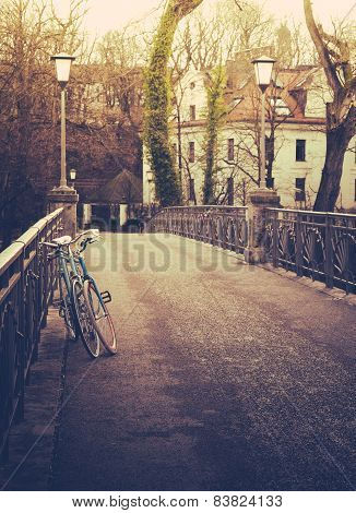 Retro Filtered Bicycles On Bridge In Winter