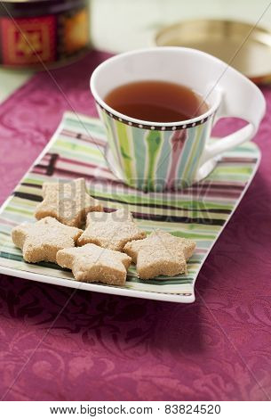 Shortbread Cookies And Cup Of Tea