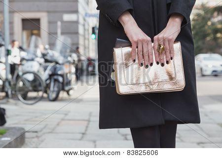 Detail Of A Bag Outside Anteprima Fashion Show Building For Milan Women's Fashion Week 2015