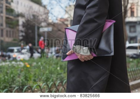 Detail Of A Man With Bag Outside Anteprima Fashion Show Building For Milan Women's Fashion Week 2015