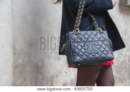 Detail Of A Bag Outside Anteprima Fashion Show Building For Milan Women's Fashion Week 2015