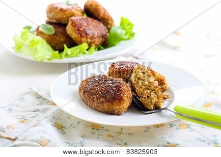Fish Cakes Fried In Bran Crumbs