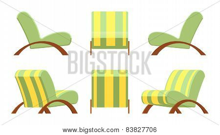 Armchair with wooden armsets and striped upholstery