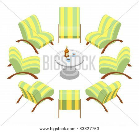 Isometric armchairs with wooden armrests and a coffee table