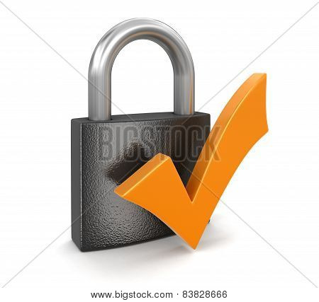 Lock and Check Mark (clipping path included)