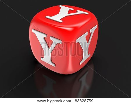 Dice with letter Y (clipping path included)