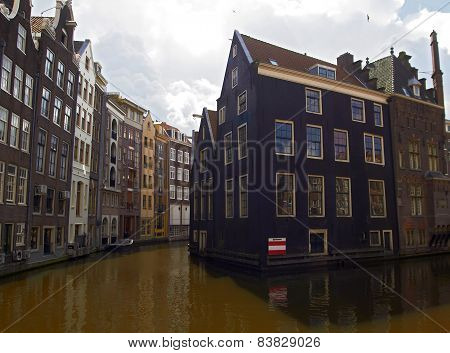 Houses and canals at Amsterdam center. Netherlands