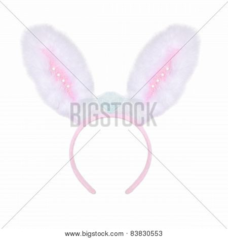 Fluffy Pink Rabbit Ears On A White Background