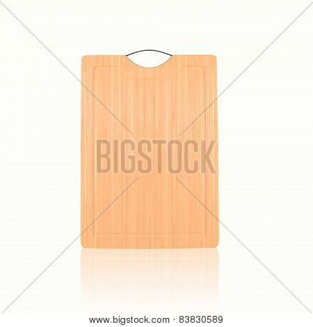 Wooden Bamboo Chopping Board For A Menu With Prices Or Recipe On A White Background