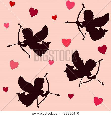 Valentine Seamless Pattern, Silhouettes Of Angels,cupids With Bows,arrows