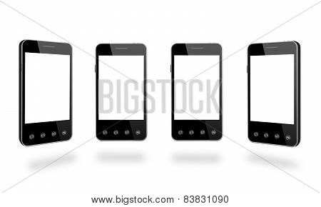 Four Black Smart-phones Isolated On The White