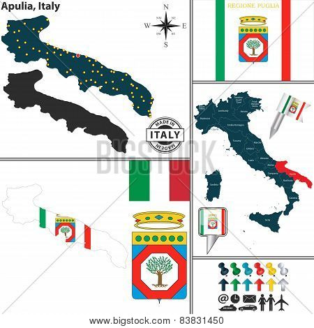 Map Of Apulia, Italy