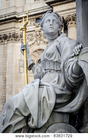 London, Statue Of Queen Anne, St Paul's Cathedral