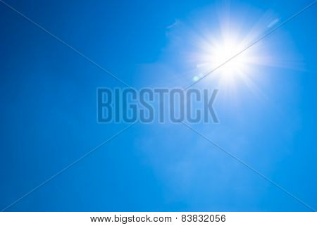 Bright Blue Sky And Sun