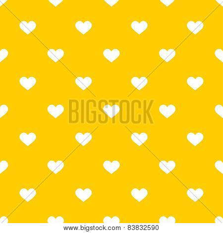 Tile cute vector pattern with white hearts on yellow background
