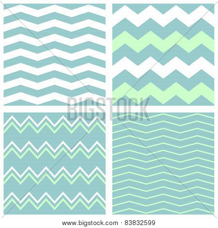 Tile chevron vector pattern set with zig zag background