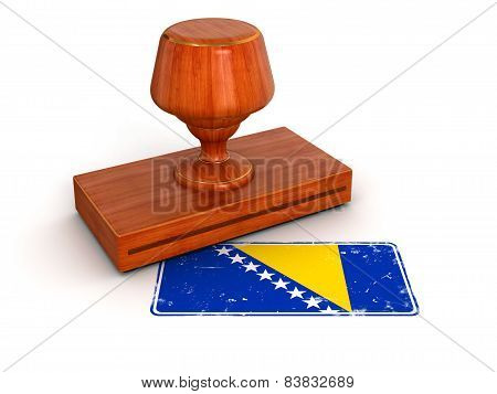 Rubber Stamp Bosnia and Herzegovina flag (clipping path included)