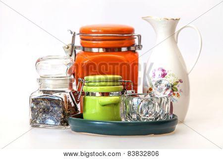 Multi-colored ceramic kitchen ware