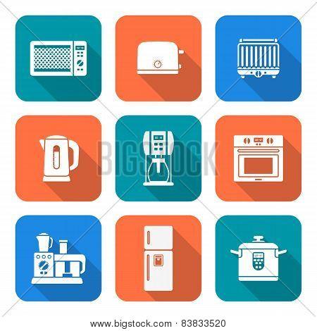 White Silhouette Flat Style Various Kitchen Devices Set.
