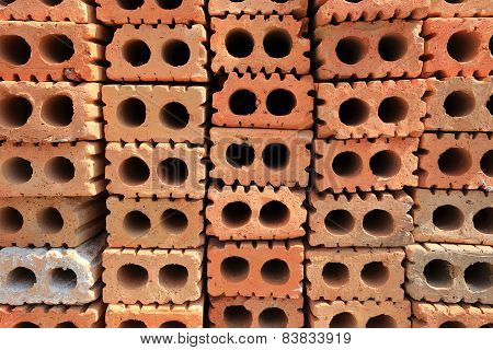 Stack Of Red Bricks, Bricks Used For Building Construction