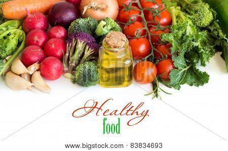 Vegetables And A Bottle Of Olive Oil