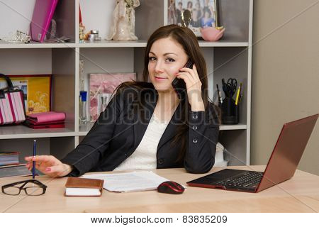 Employee Of Office Talking On Phone At Your Desk