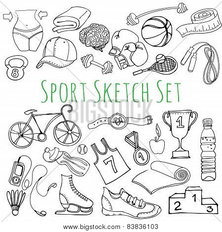 Black and white Sport and fitness seamless doodle icons set