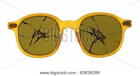 Broken glasses Fashioned From Plastic Isolated On White Background.