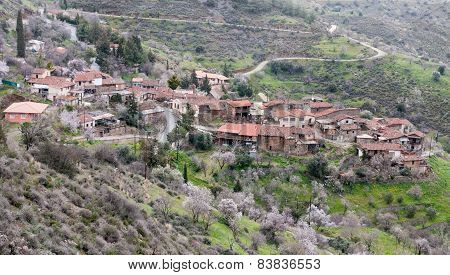 Mountain Village Of Lazania In Cyprus